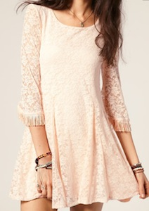 Oh My Love 60's Lace Shift Dress With Fringed Sleeves