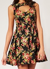 Rare Heart Cut Out Vintage Floral Print Dress