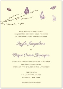 Signature Ecru Butterfly Love Wedding Invitations