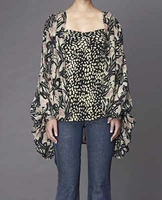 Winter Kate Flying Fox Bed Jacket in Multi Print