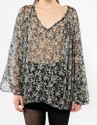 Winter Kate Lily Silk Chiffon Top in Black