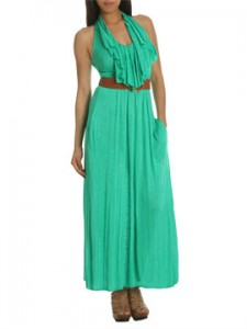 Belted Ruffle Maxi Dress