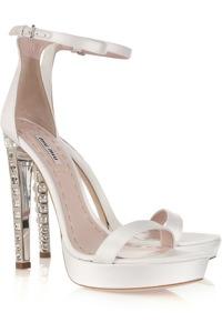 Miu Miu Crystal Heel Silk Satin Sandals