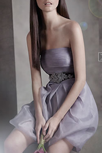 Organza Dress with Draped Bodice and Bubble Skirt