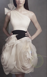 One Shoulder Oraganza Dress with Black Belt