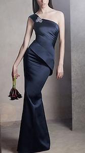 One Shoulder Satin Dress with Asymmetrical Skirt