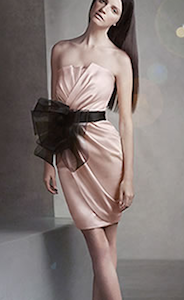 Short Draped Satin Dress with Sash
