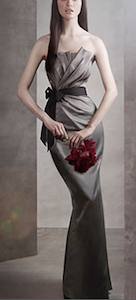 Draped Satin Dress with Grosgrain Sash