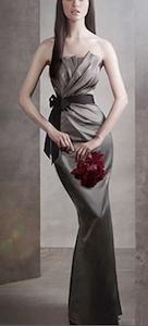 Draped Satin Dress with Grosgrain Sash