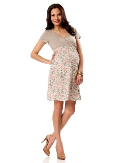 Short Sleeve Bow Detail Maternity Dress beige