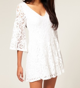 TFNC Floral Lace Fluted Sleeve Mini Dress