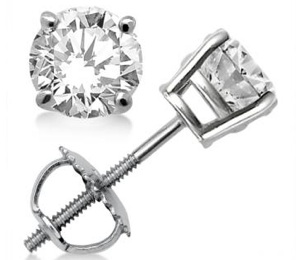 0.33ct. Prong Set Diamond Stud Earrings 14k White Gold