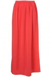 Coral Gathered Slit Side Maxi Skirt