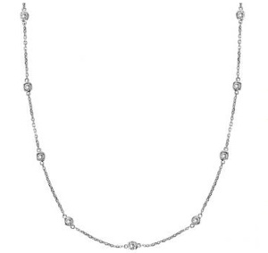 Diamonds by The Yard Bezel-Set Necklace in 14k White Gold