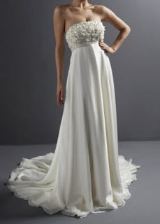Empire Strapless Sleeveless Court Train Chiffon Wedding Gown