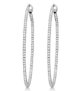 Hidalgo Micro Pave Diamond Hoop Earrings 18k White Gold