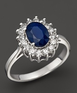 Sapphire and Diamond Ring Set In White Gold