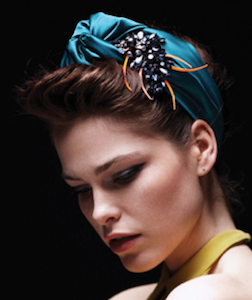 Knotted Silk Turban with Crystal Anemone