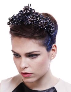 Grande Black Pearl and Crystal Headband