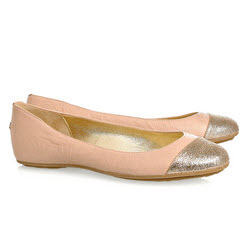 Jimmy Choo glitter and peach ballet flats