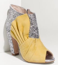Miu Miu yellow glitter booties