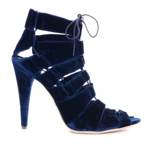 'Natane' lace-up stilettos in Midnight velvet