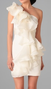 Notte by MARCHESA One Shoulder Silk Dress with Organza Ruffle