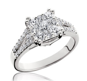 Endless Diamonds Square Solitaire Split Shank Ring