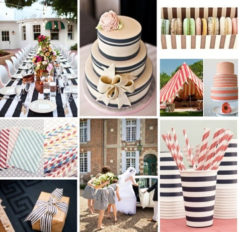 Striped wedding decor striped wedding straws striped for Striped bridesmaid dresses wedding