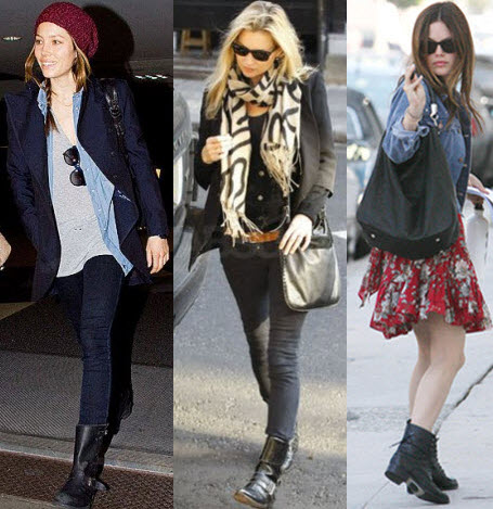 celebs in motorcycle boots kate moss jessica biel and rachel bilson