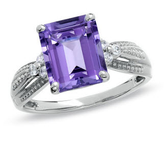 Amethyst and Lab-Created White Sapphire Ring in White Gold
