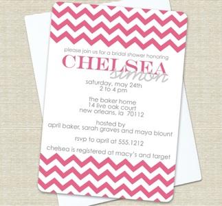 Chevron Stripe Honeysuckle Bridal Shower Invitation