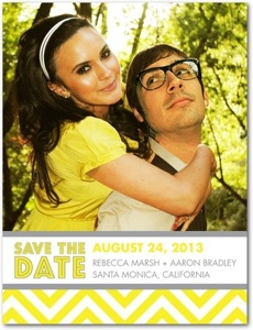 Chic Chevrons Sunny Yellow Save The Date