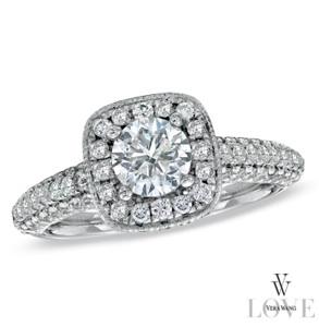 Diamond Frame Engagement Ring in 14K White Gold
