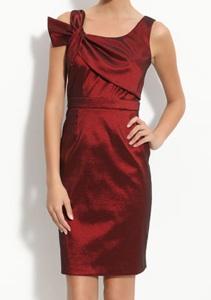 Donna Ricco Asymmetrical Shoulder Taffeta Dress