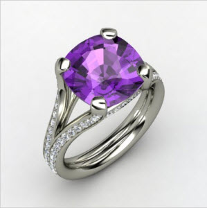 Enrapture Ring Cushion Amethyst 14K White Gold Ring With Diamond