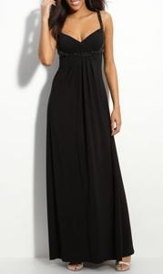 JS Boutique Beaded Crisscross Matte Jersey Gown
