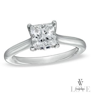 Princess-Cut Diamond Engagement Ring in 14K White Gold