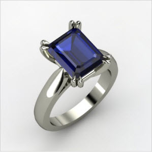 Quotation Ring Emerald-Cut Sapphire Platinum Ring