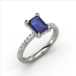 Reese Ring Emerald-Cut Sapphire Platinum Ring with Diamond