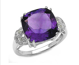 Silver Genuine Amethyst and Diamond Ring
