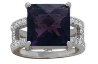 Sterling Silver White CZ and Amethyst Ring