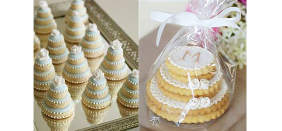 sweet bridal shower idea literally stacked mini cake cookies