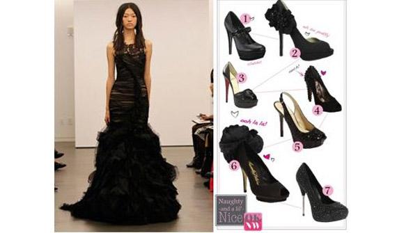 Wedding blogs vera wang black wedding dresses black for Black shoes with wedding dress