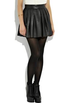 Alice and Olivia Pleated Leather Skirt