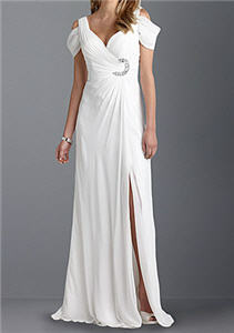 Celebrations David Tutera Shirred Off-The-Shoulder Gown