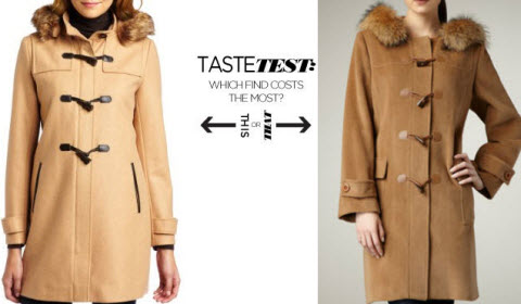 Can You Tell Which Fur-Trimmed Camel Toggle Coat Costs $1,155 More Than The Other One