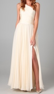 Halston Heritage One Shoulder Gathered Gown