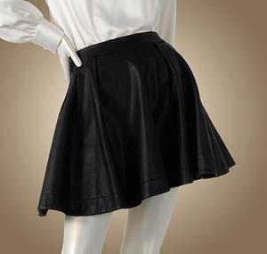 Jennifer Lopez Pleated Faux-Leather Skirt