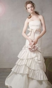 Mermaid Gown with Pleated Skirt and Bubble Hem
